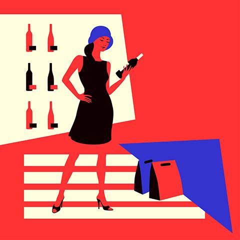 Wine shopping girl