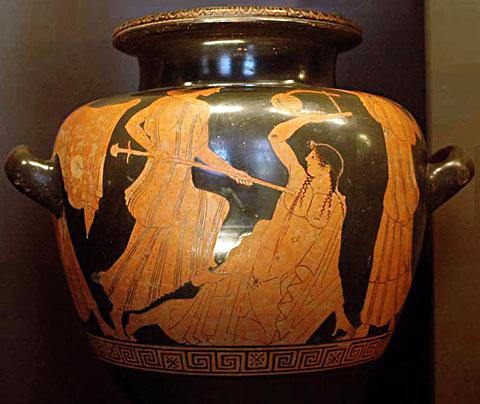 Смерть Орфея. Вакханки, убивающие Орфея