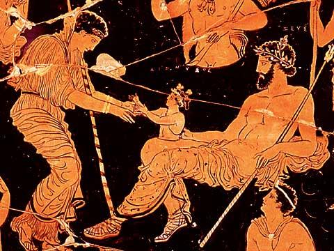 Культ Диониса. Рождение из бедра зевса. Краснофигурная ваза