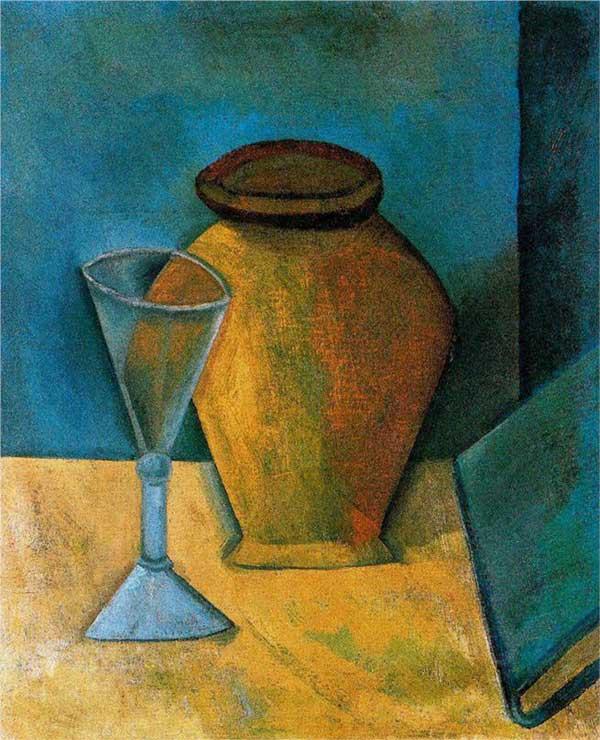 Пабло Пикассо. Горшок, бокал и книга. 1908
