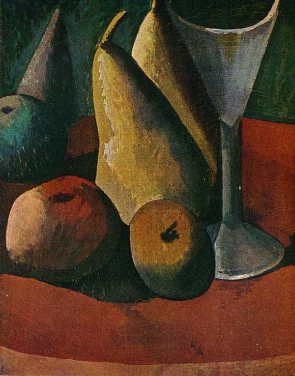 Пабло Пикассо. Бокал и фрукты. 1908