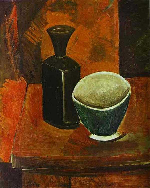 Зелёная миска и чёрная бутылка. 1908