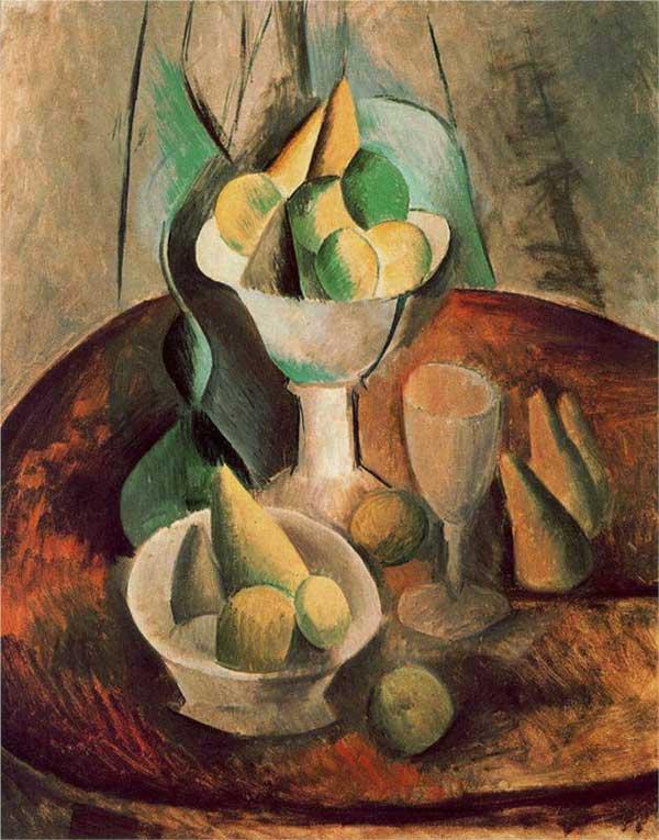Пабло Пикассо. Компотница. ваза с фруктами и бокал. 1908