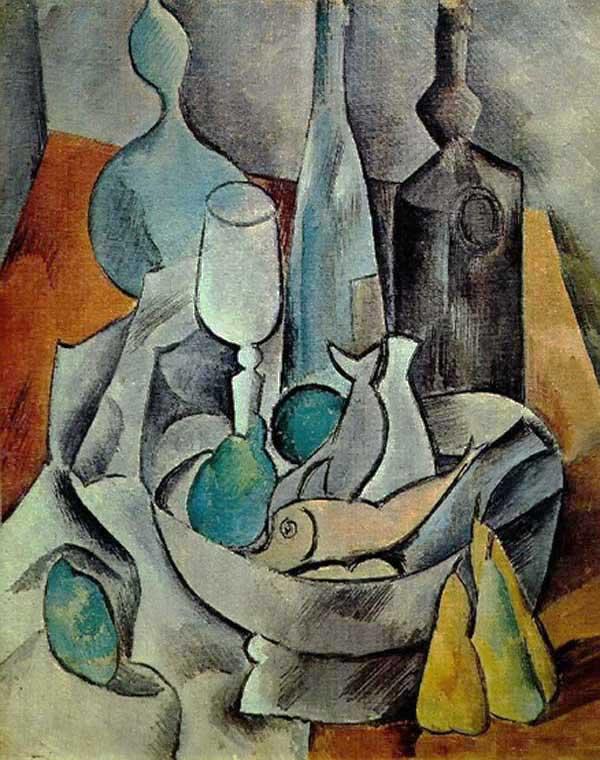 Пабло Пикассо. Рыба и бутылки. 1908