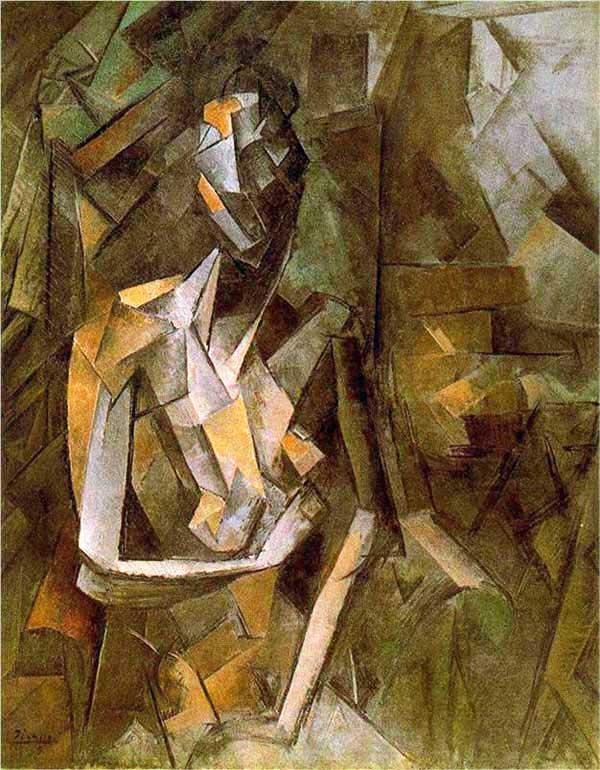 Пабло Пикассо. Сидящая обнаженная. 1910