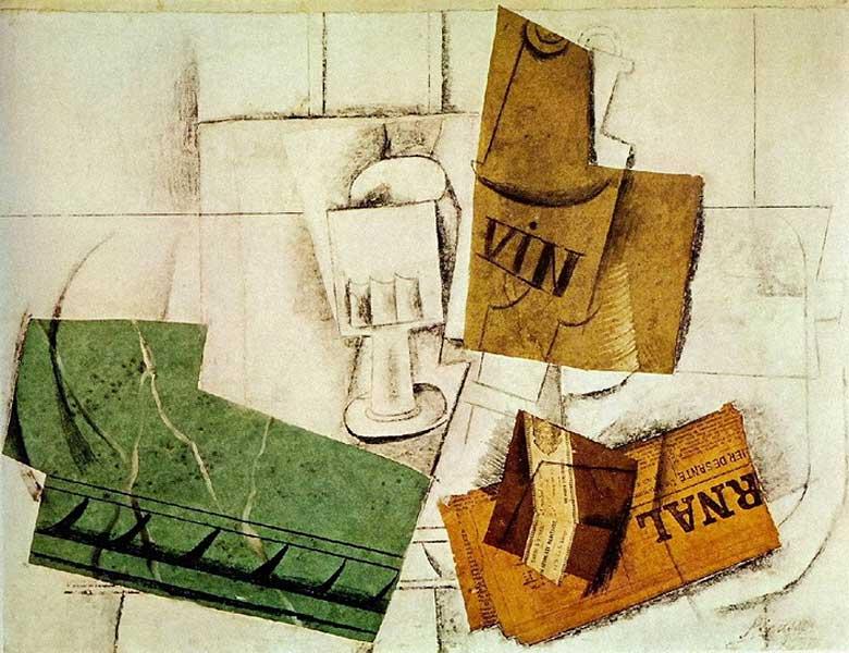 Пабло Пикассо. Бутылка, бокал, газета, пачка табака. 1914
