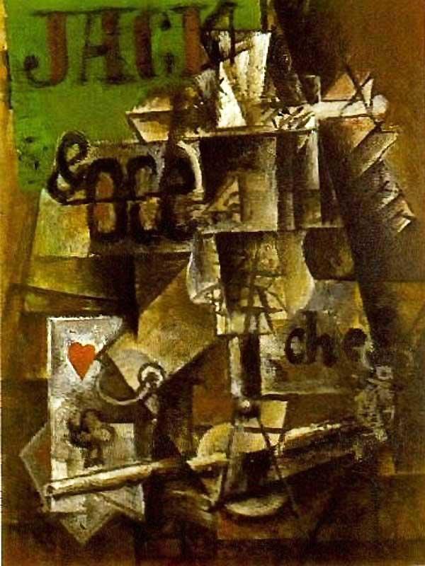 Пабло Пикассо. Бокал Перно и карты. 1912