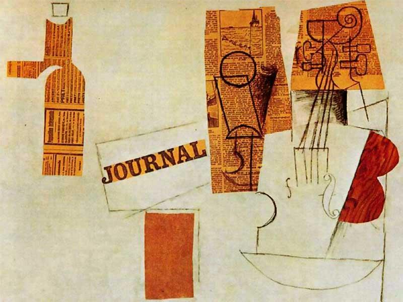 Пабло Пикассо. Бутылка, бокал, скрипка. 1912