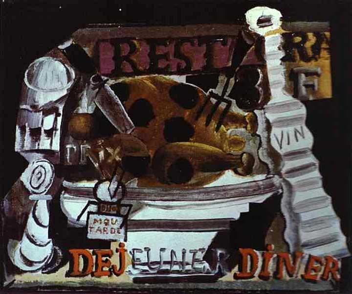 Пабло Пикассо. Ресторан, или Индейка с трюфелями и вином. 1912