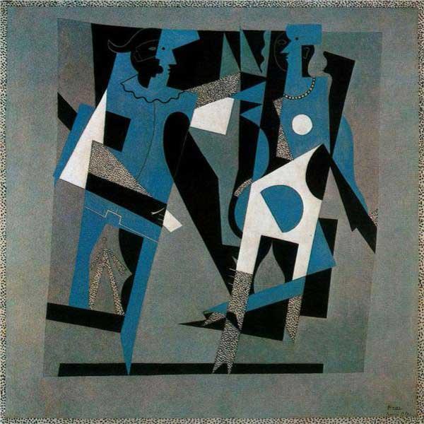 Пабло Пикассо. Арлекин и женщина с ожерельем. 1917