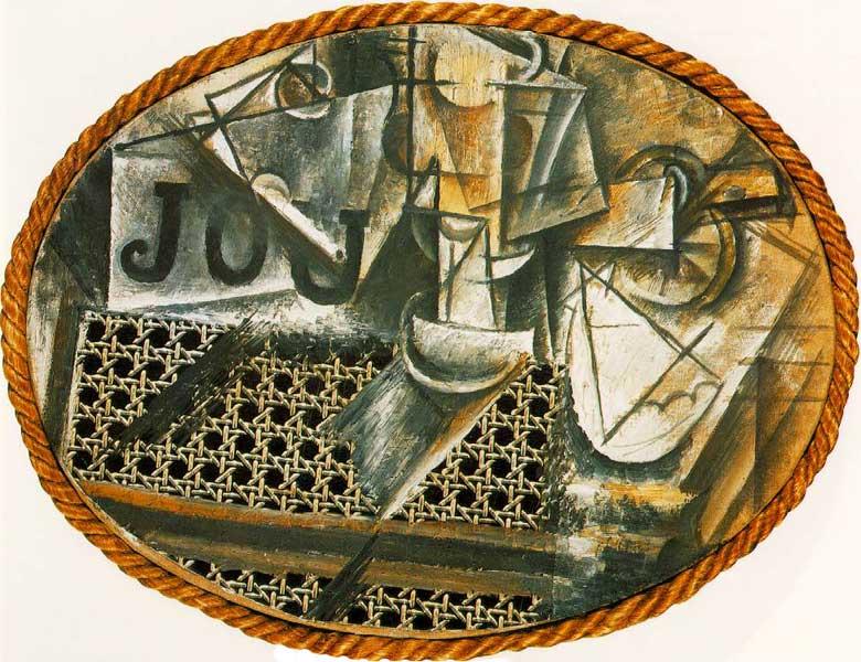 Пабло Пикассо. Натюрморт с плетеным стулом. 1912