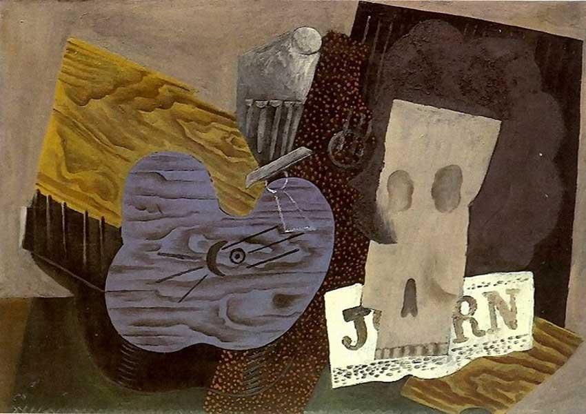 Пабло Пикассо. Гитара, череп и газета. 1913