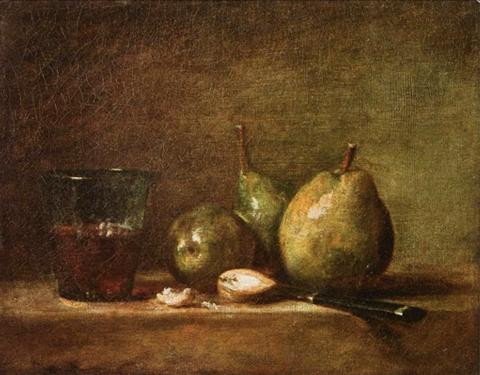 жан батист шарден груши, каштаны и стакан вина