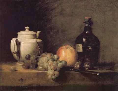 жан батист симеон шарден чайник, виноград и яблоки