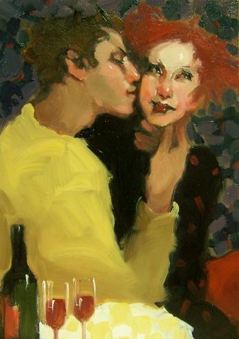 Влюбленные и вино на картинах современных художников