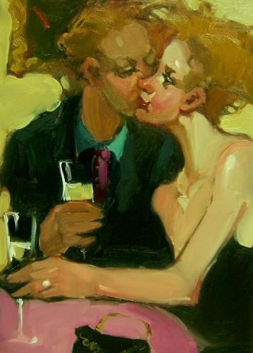Девушки с бокалом вина - обычный сюжет современной художницы Kim Roberti