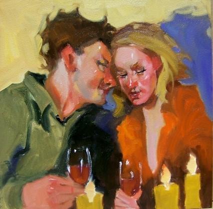 Сюжеты современной живописи - Девушка с бокалом вина