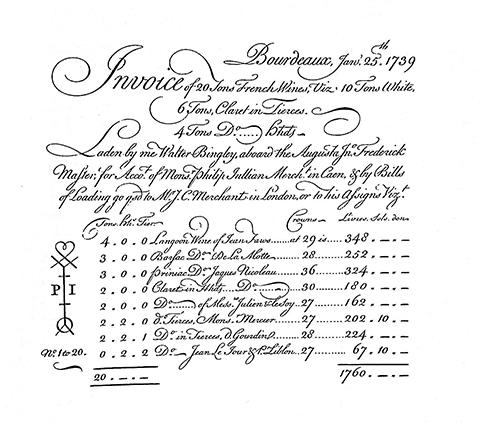 счет за вино 18 век