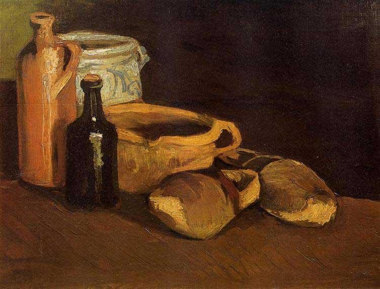 Винсент Ван Гог, Натюрморт с горшками, бутылкой и сабо, 1884