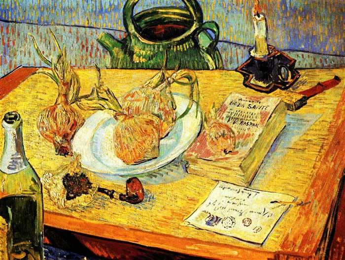 Винсент Ван Гог, Натюрморт с бутылкой, луком, книгой и письмом, 1889