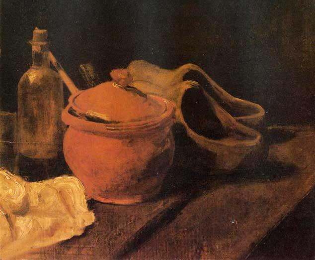 Винсент Ван Гог, Натюрморт с горшком, бутылкой и сабо, 1885
