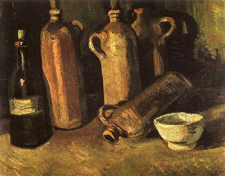 Винсент Ван Гог, Натюрморт с бутылками и белой чашкой, 1884