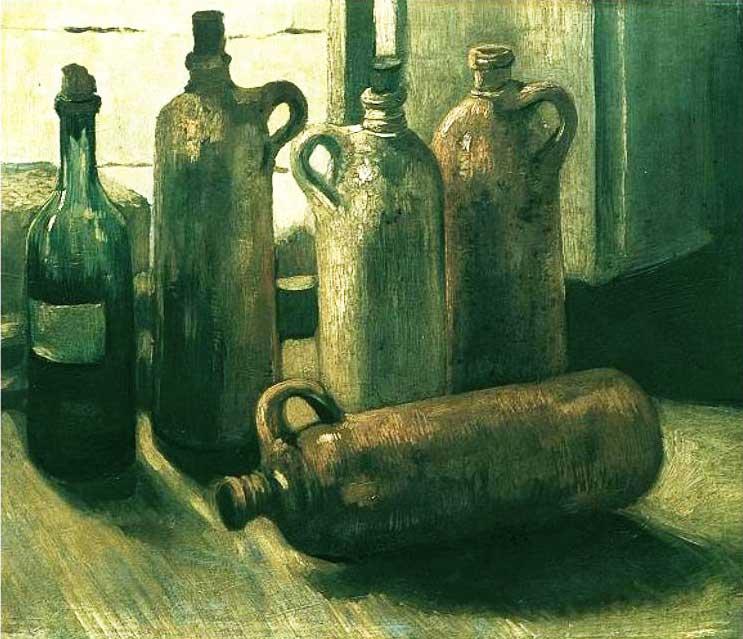 Винсент Ван Гог, Натюрморт с бутылками, 1884