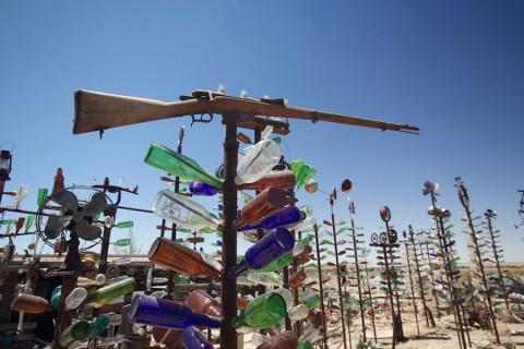 Бутылки и деревья из них на ранчо в Калифорнии